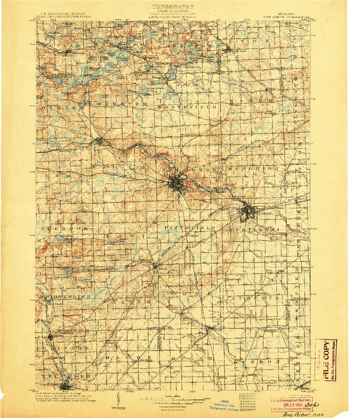 USGS 1:125000-SCALE QUADRANGLE FOR ANN ARBOR, MI 1904