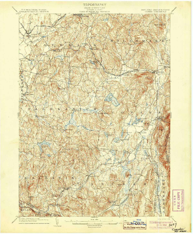 USGS 1:62500-SCALE QUADRANGLE FOR COPAKE, NY 1904