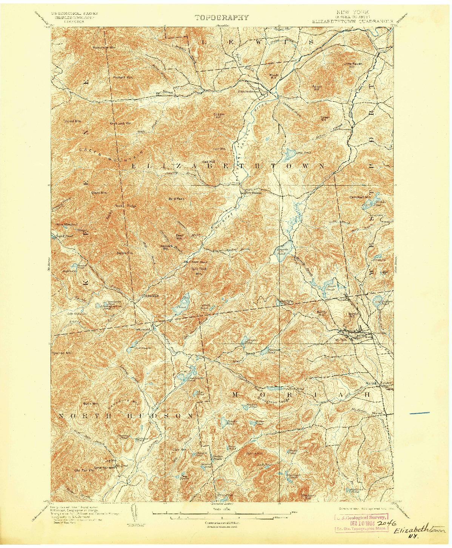 USGS 1:62500-SCALE QUADRANGLE FOR ELIZABETHTOWN, NY 1901