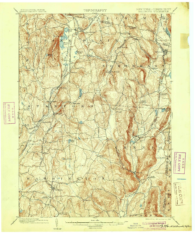 USGS 1:62500-SCALE QUADRANGLE FOR MILLBROOK, NY 1902