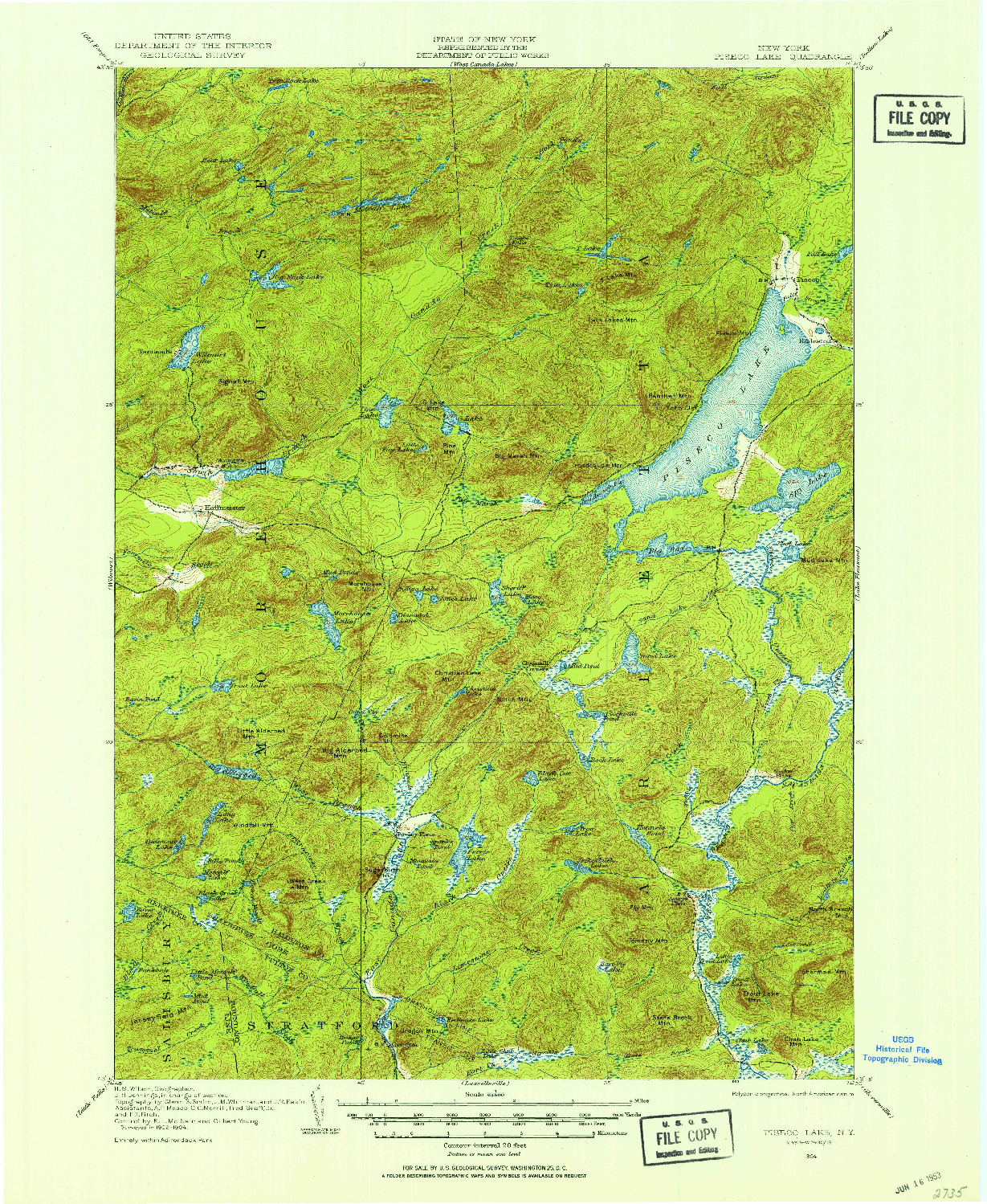 USGS 1:62500-SCALE QUADRANGLE FOR PISECO LAKE, NY 1904
