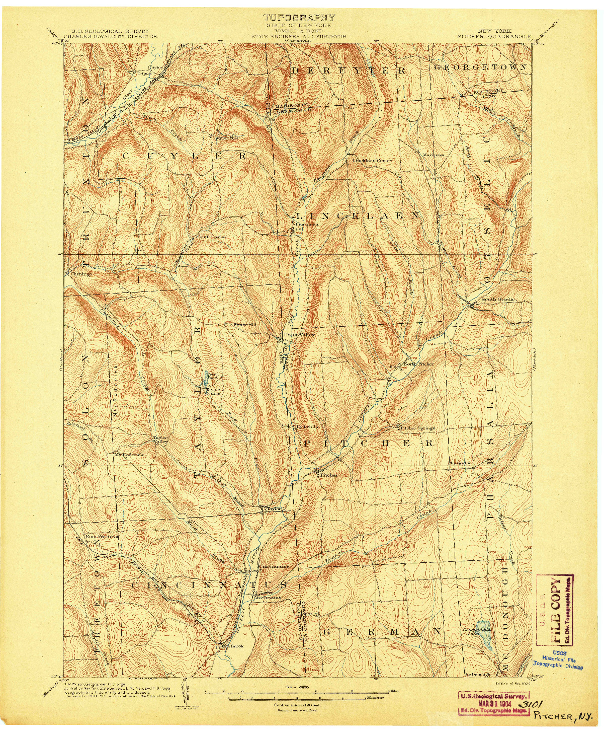 USGS 1:62500-SCALE QUADRANGLE FOR PITCHER, NY 1904