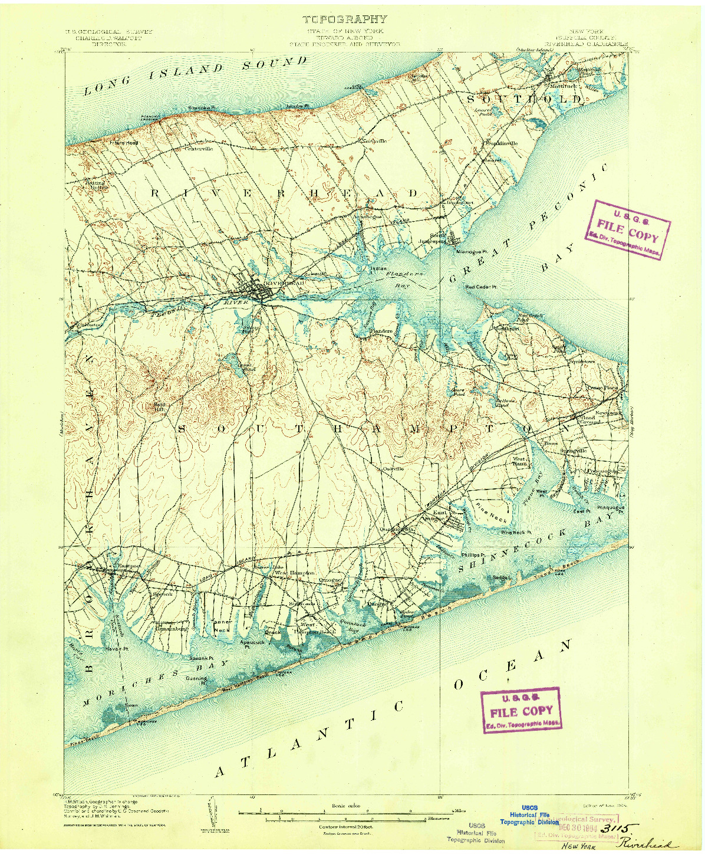 USGS 1:62500-SCALE QUADRANGLE FOR RIVERHEAD, NY 1904