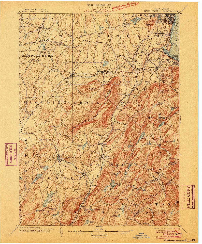 USGS 1:62500-SCALE QUADRANGLE FOR SCHUNEMUNK, NY 1902