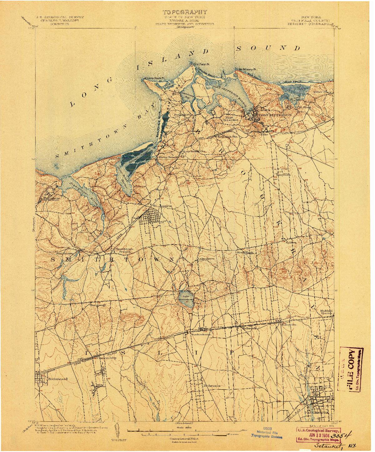 USGS 1:62500-SCALE QUADRANGLE FOR SETAUKET, NY 1904