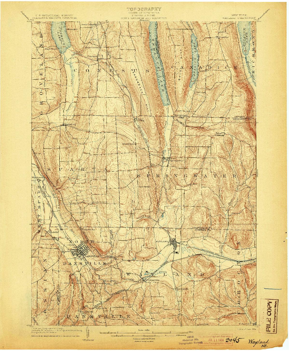 USGS 1:62500-SCALE QUADRANGLE FOR WAYLAND, NY 1904