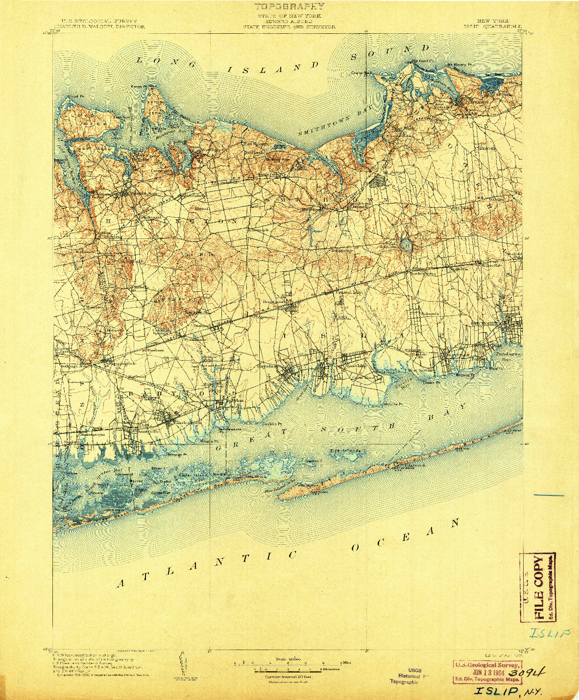 USGS 1:125000-SCALE QUADRANGLE FOR ISLIP, NY 1904