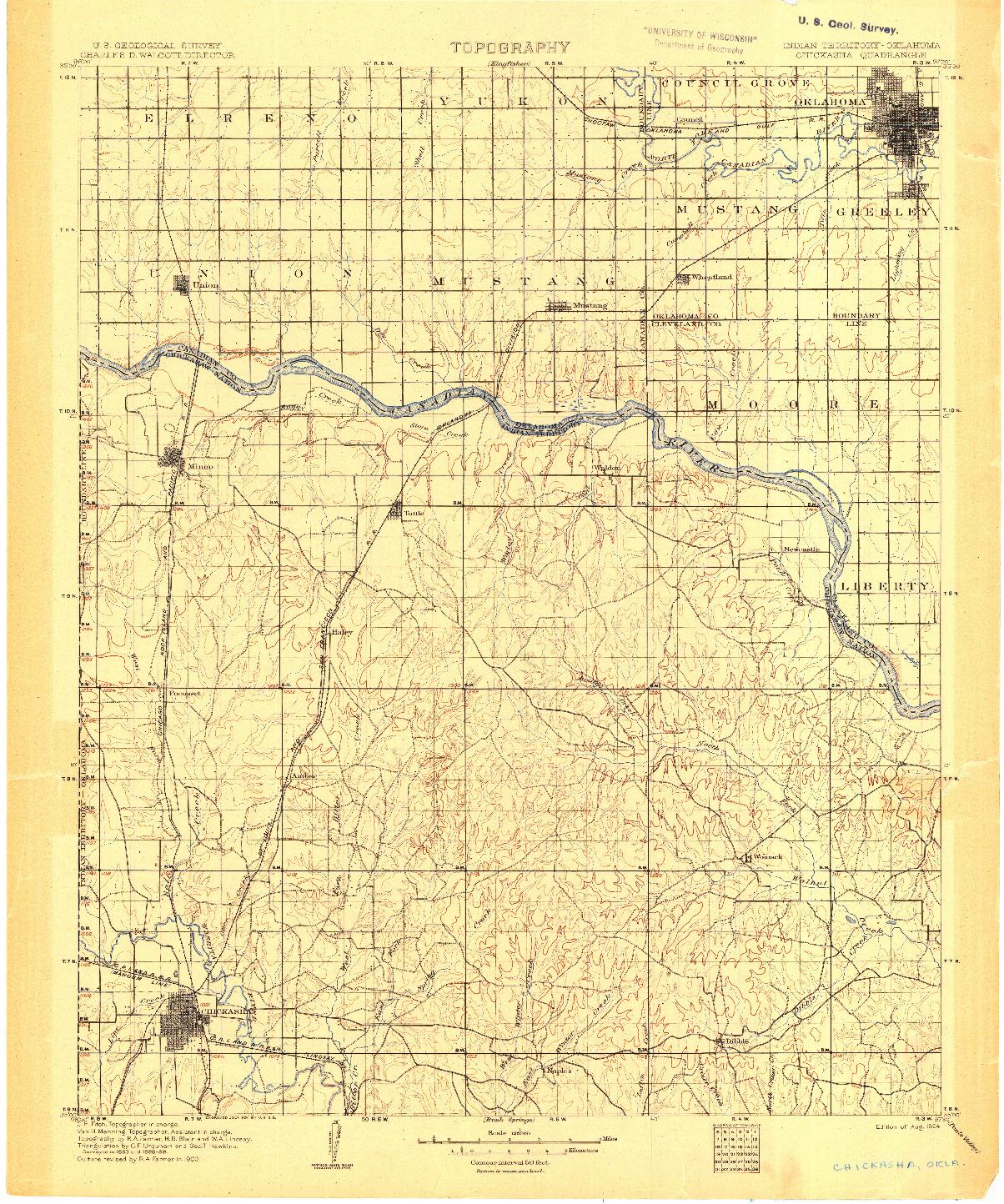 USGS 1:125000-SCALE QUADRANGLE FOR CHICKASHA, IT 1904