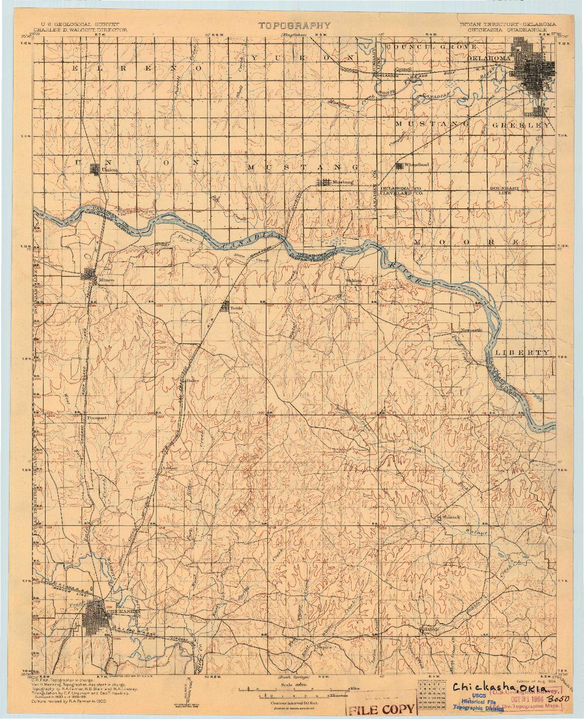 USGS 1:125000-SCALE QUADRANGLE FOR CHICKASHA, OK 1904
