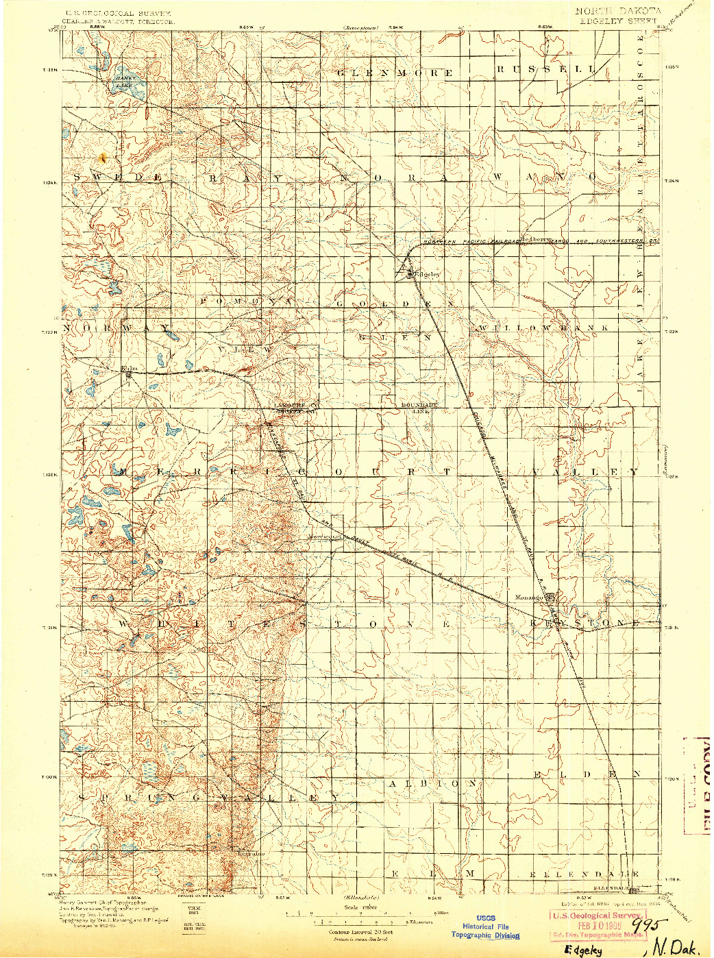 USGS 1:125000-SCALE QUADRANGLE FOR EDGELEY, ND 1896