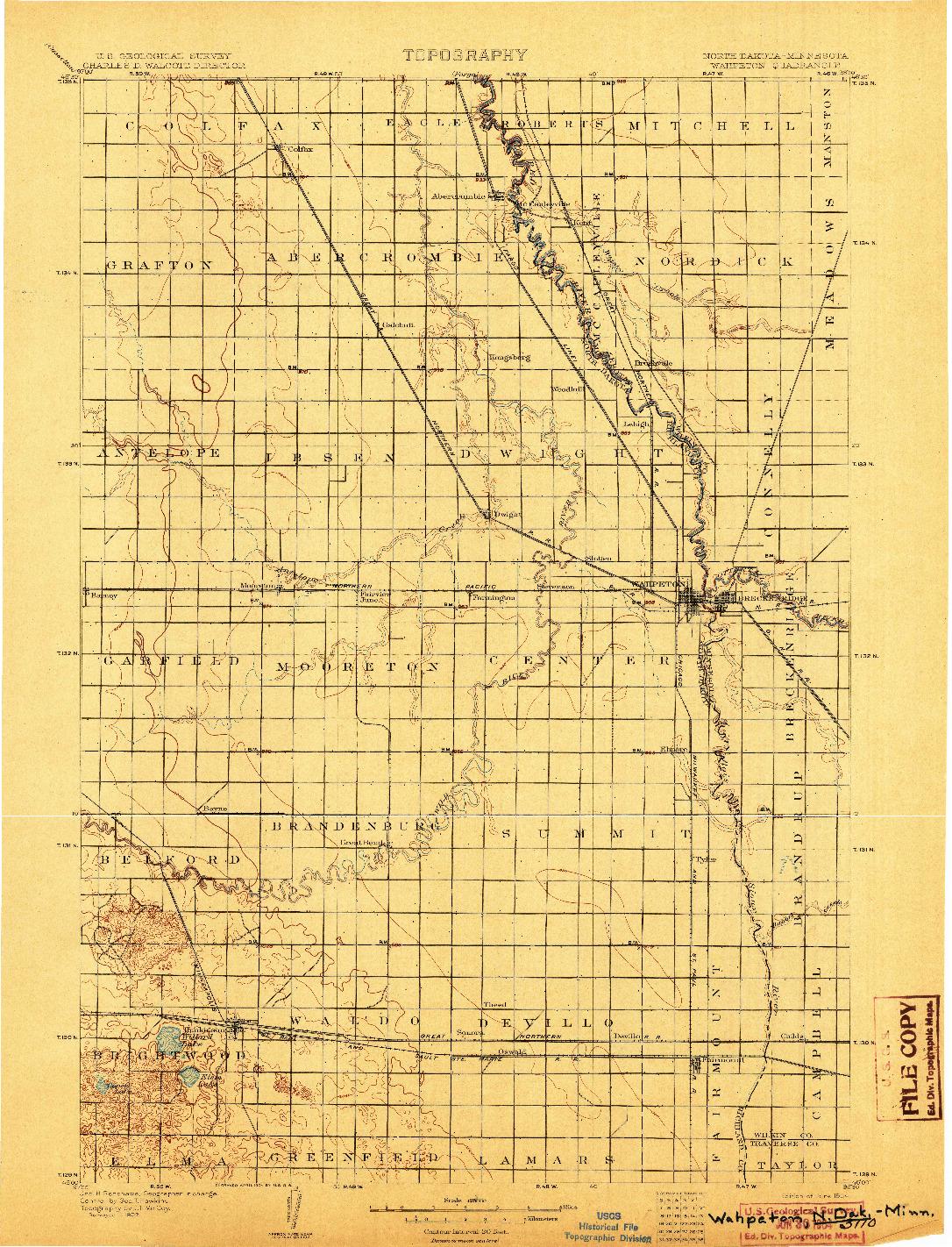 USGS 1:125000-SCALE QUADRANGLE FOR WAHPETON, ND 1904