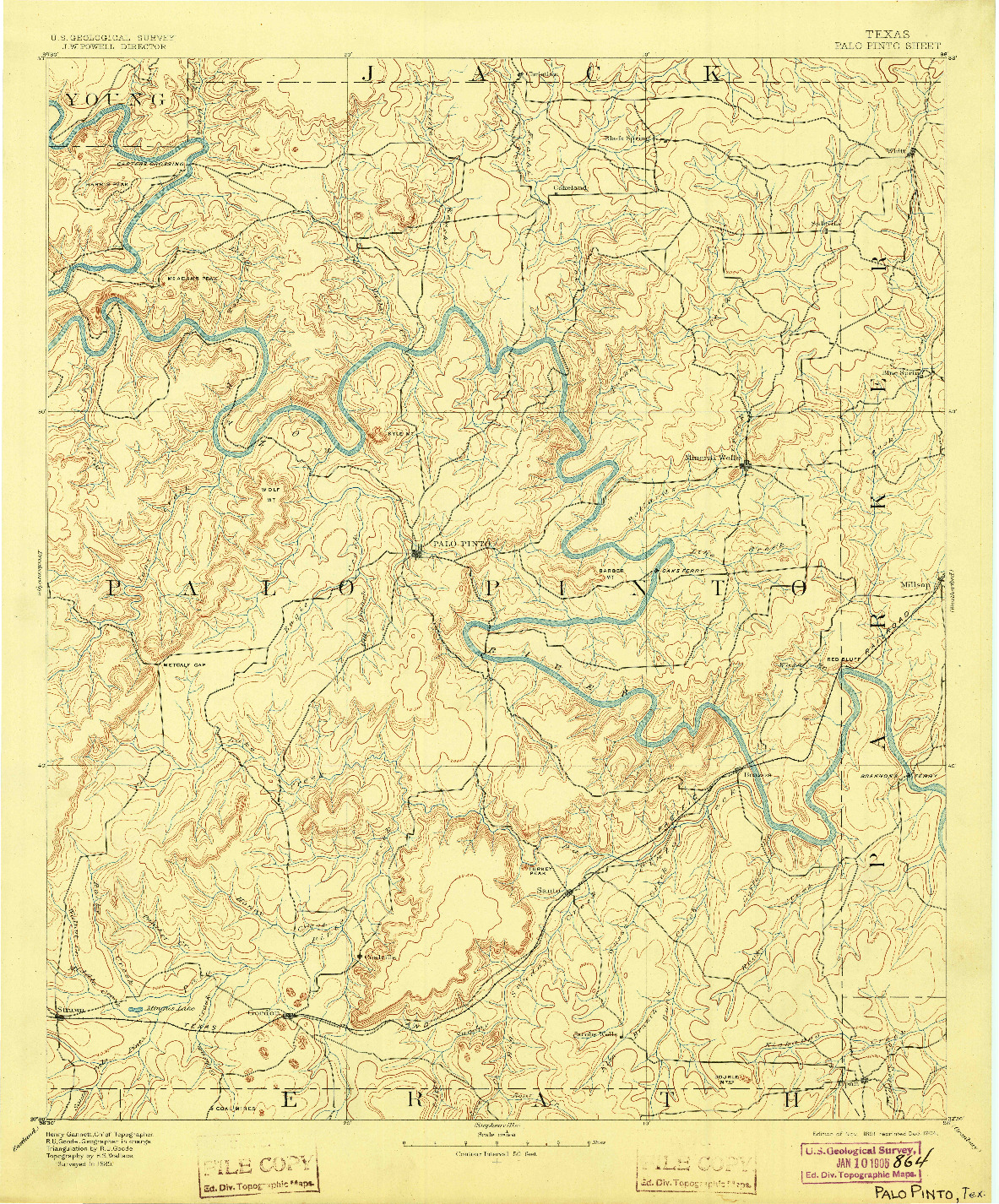 USGS 1:125000-SCALE QUADRANGLE FOR PALO PINTO, TX 1891