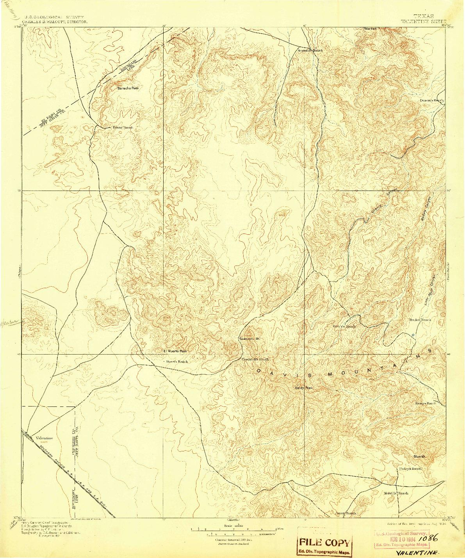 USGS 1:125000-SCALE QUADRANGLE FOR VALENTINE, TX 1897