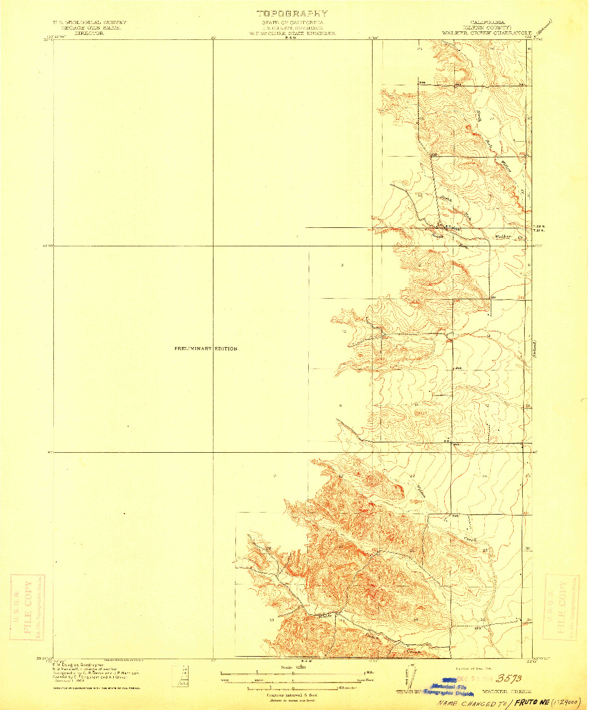 USGS 1:31680-SCALE QUADRANGLE FOR WALKER CREEK, CA 1904