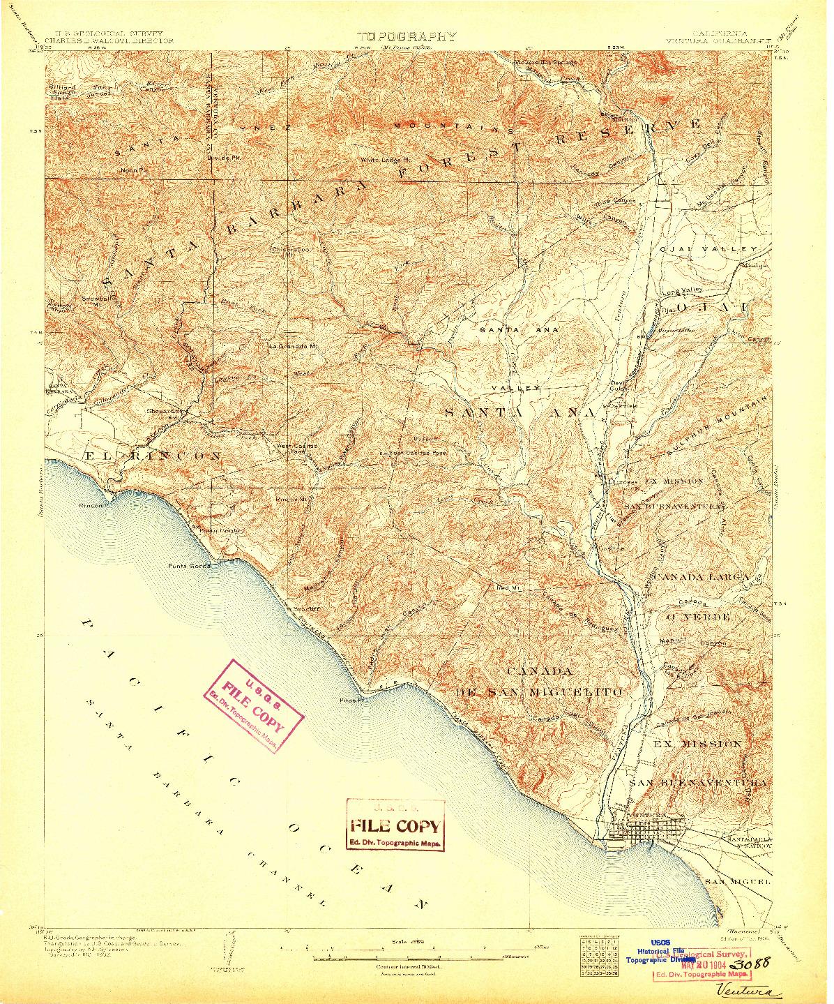 USGS 1:62500-SCALE QUADRANGLE FOR VENTURA, CA 1904