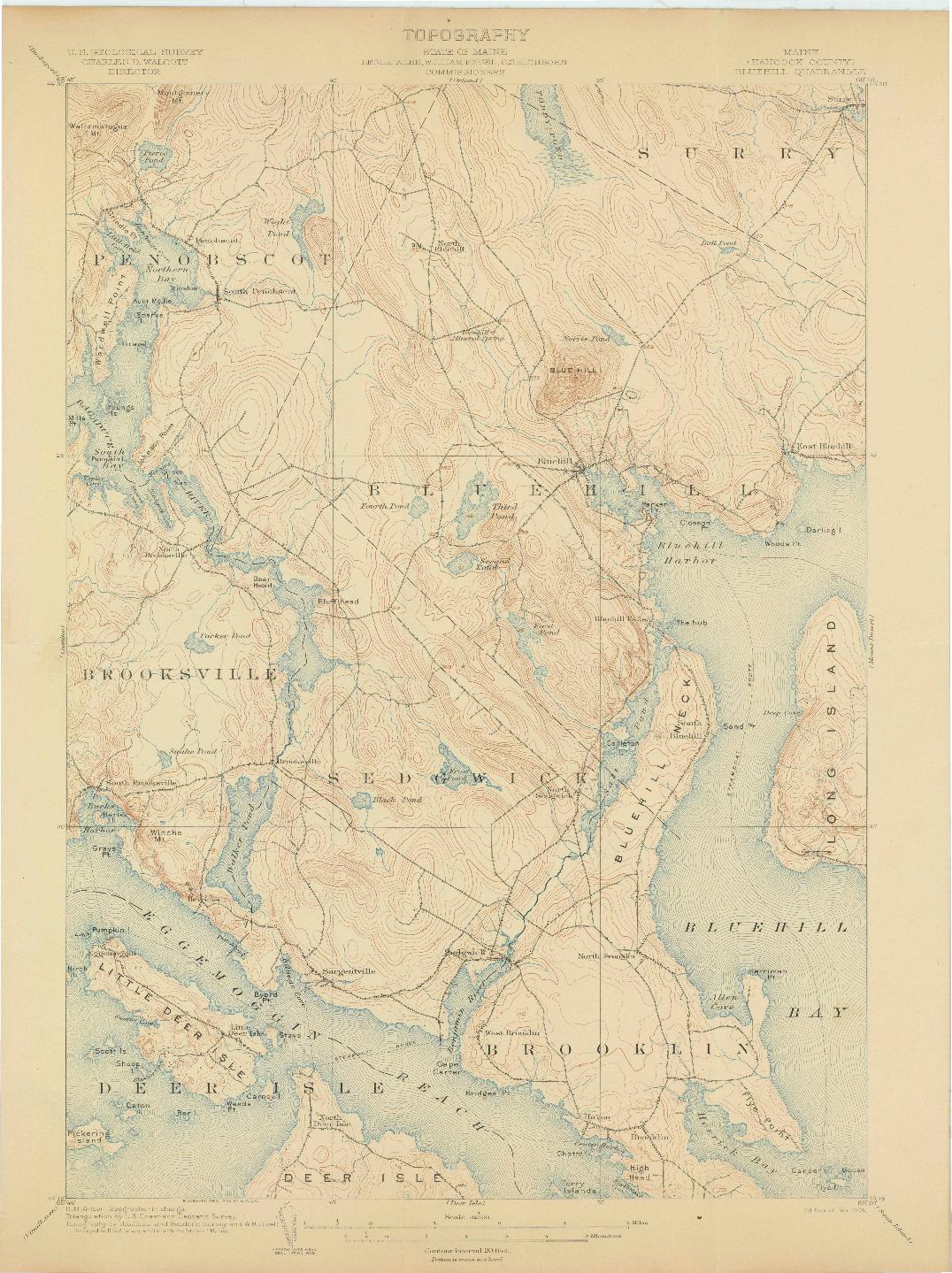 USGS 1:62500-SCALE QUADRANGLE FOR BLUEHILL, ME 1904