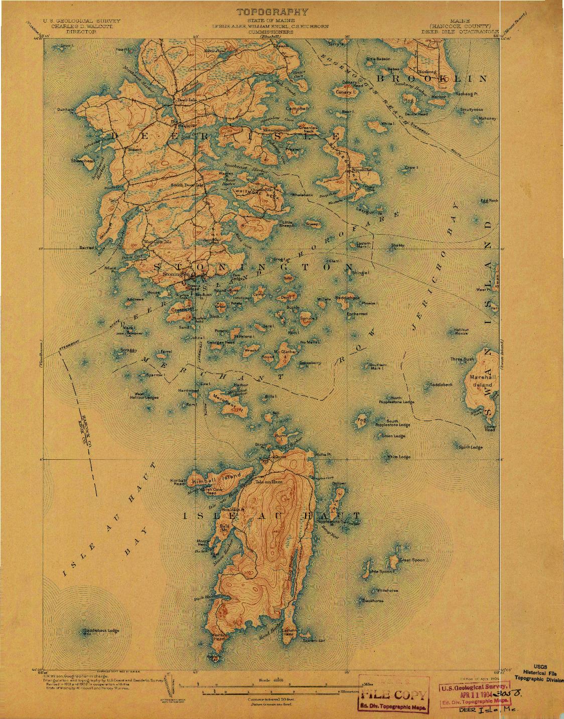 USGS 1:62500-SCALE QUADRANGLE FOR DEER ISLE, ME 1904