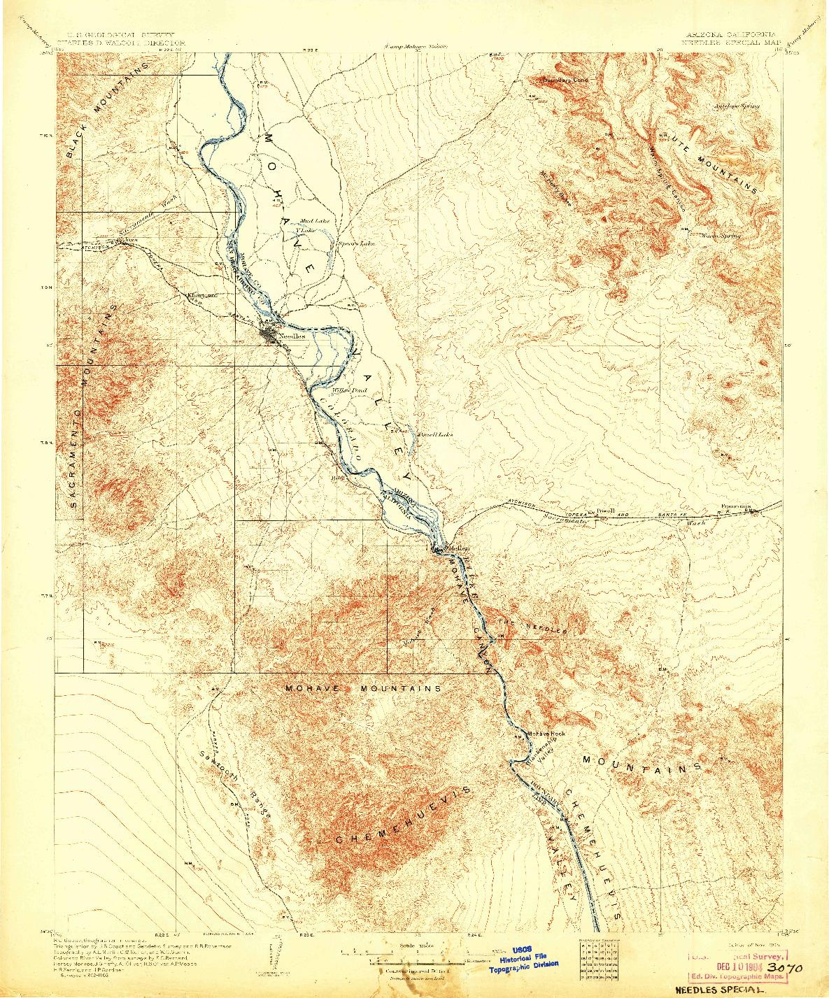 USGS 1:125000-SCALE QUADRANGLE FOR NEEDLES SPECIAL, AZ 1904