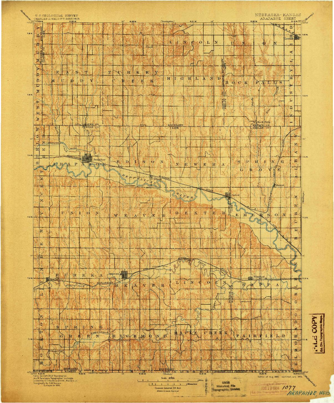 USGS 1:125000-SCALE QUADRANGLE FOR ARAPAHOE, NE 1896
