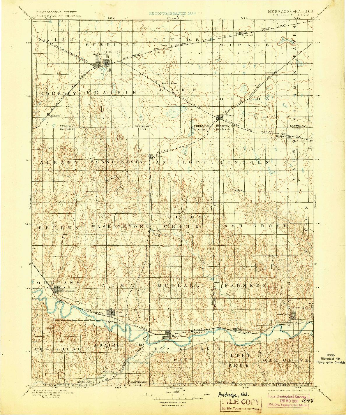 USGS 1:125000-SCALE QUADRANGLE FOR HOLDREGE, NE 1896