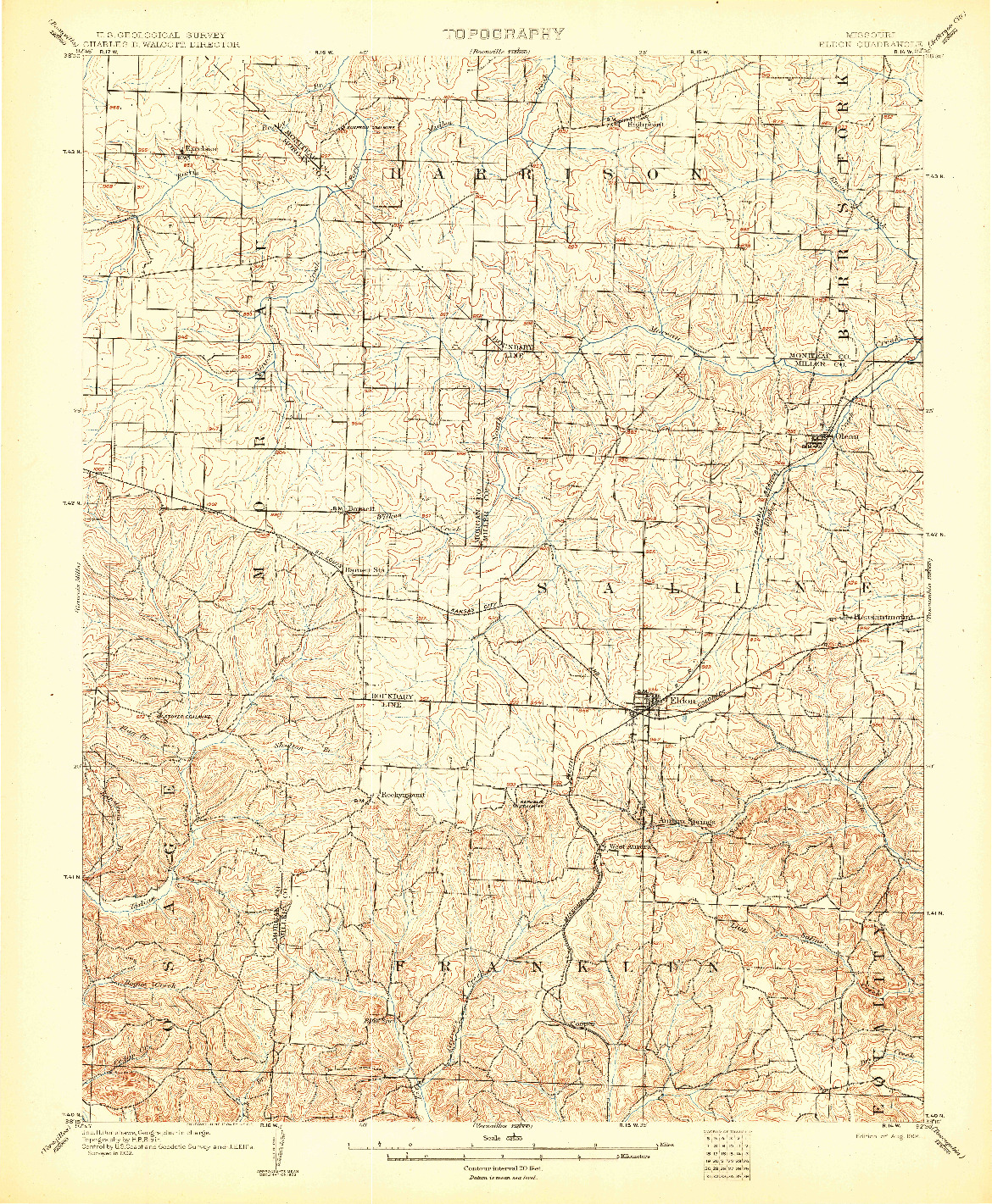USGS 1:62500-SCALE QUADRANGLE FOR ELDON, MO 1904