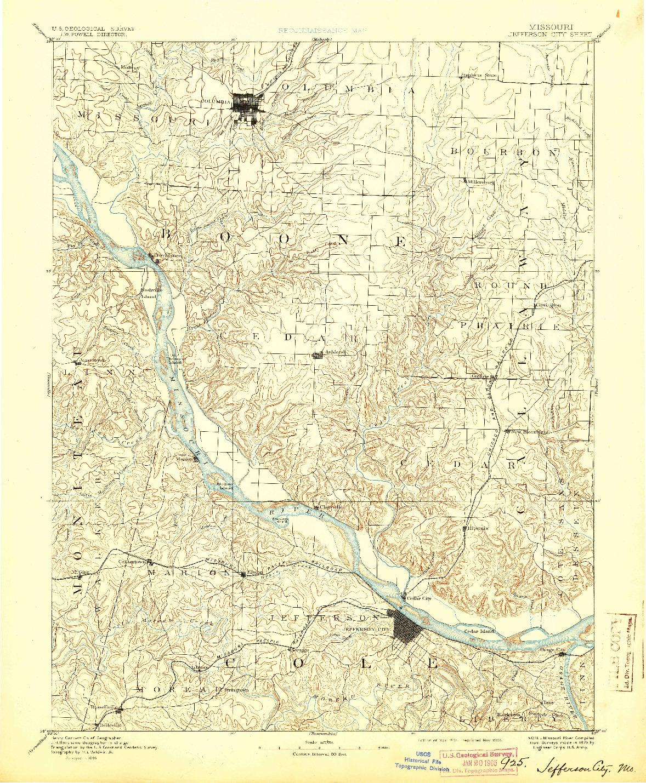 USGS 1:125000-SCALE QUADRANGLE FOR JEFFERSON CITY, MO 1894
