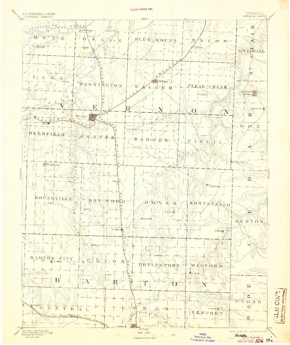USGS 1:125000-SCALE QUADRANGLE FOR NEVADA, MO 1894