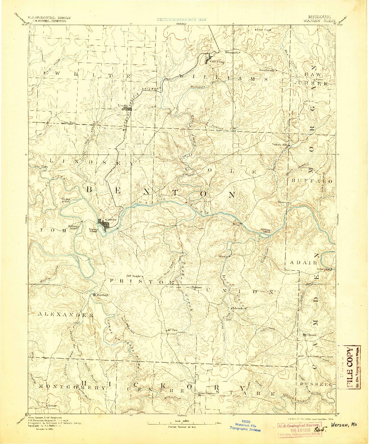 USGS 1:125000-SCALE QUADRANGLE FOR WARSAW, MO 1894