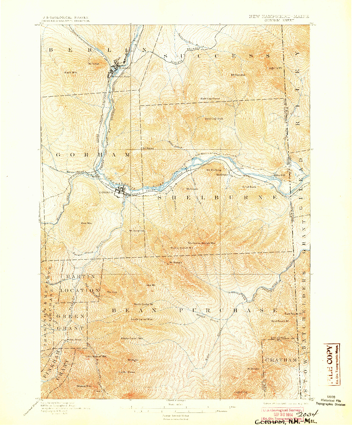 USGS 1:62500-SCALE QUADRANGLE FOR GORHAM, NH 1893