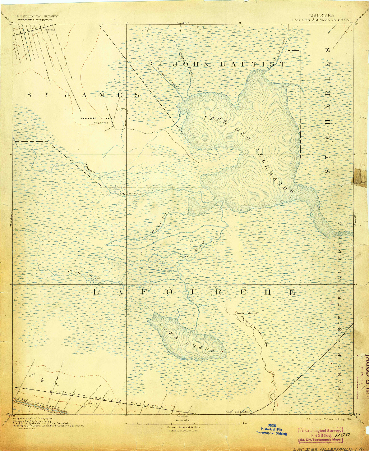 USGS 1:62500-SCALE QUADRANGLE FOR LAC DES ALLEMANDS, LA 1892