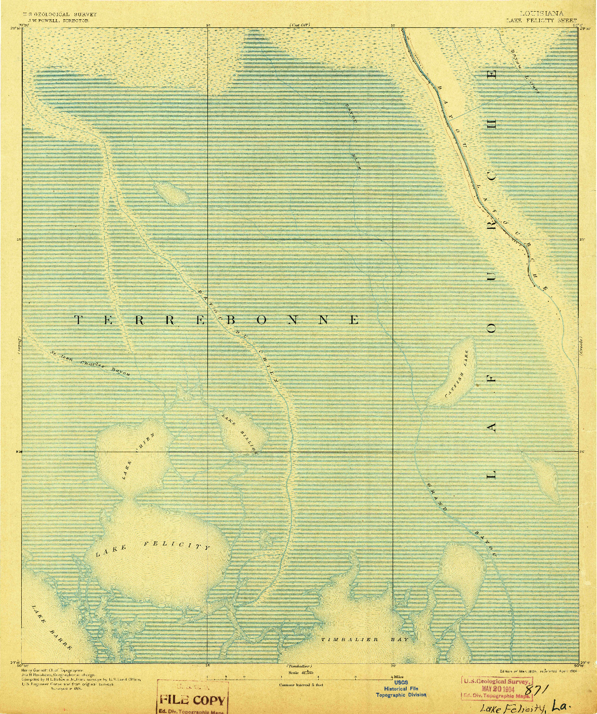 USGS 1:62500-SCALE QUADRANGLE FOR LAKE FELICITY, LA 1894