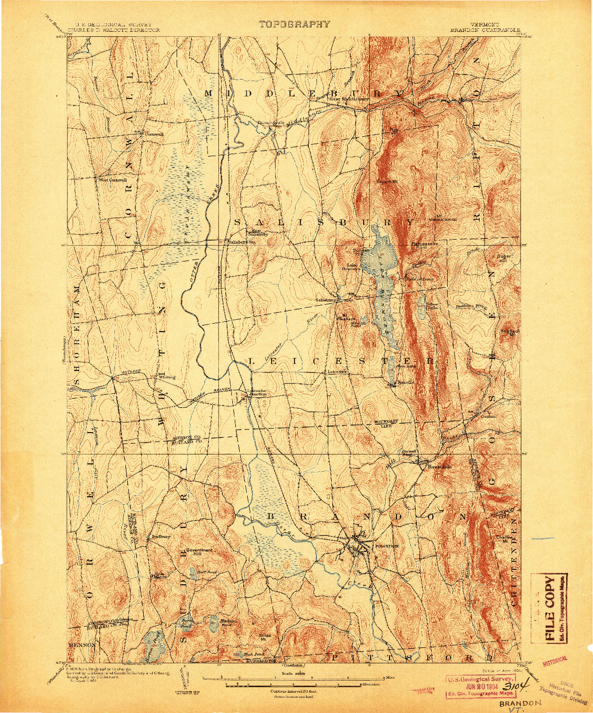USGS 1:62500-SCALE QUADRANGLE FOR BRANDON, VT 1904
