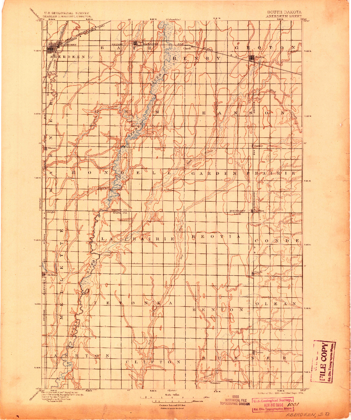 USGS 1:125000-SCALE QUADRANGLE FOR ABERDEEN, SD 1895