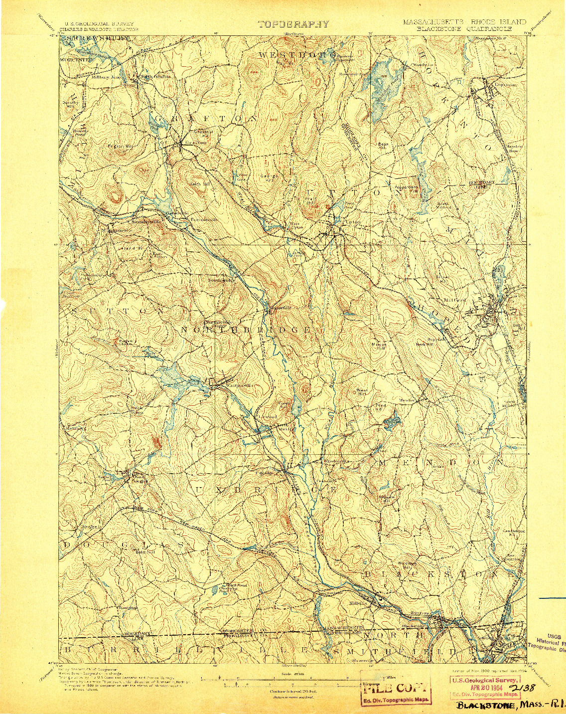 USGS 1:62500-SCALE QUADRANGLE FOR BLACKSTONE, MA 1900