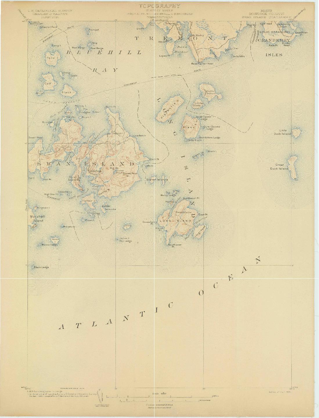 USGS 1:62500-SCALE QUADRANGLE FOR SWAN ISLAND, ME 1904