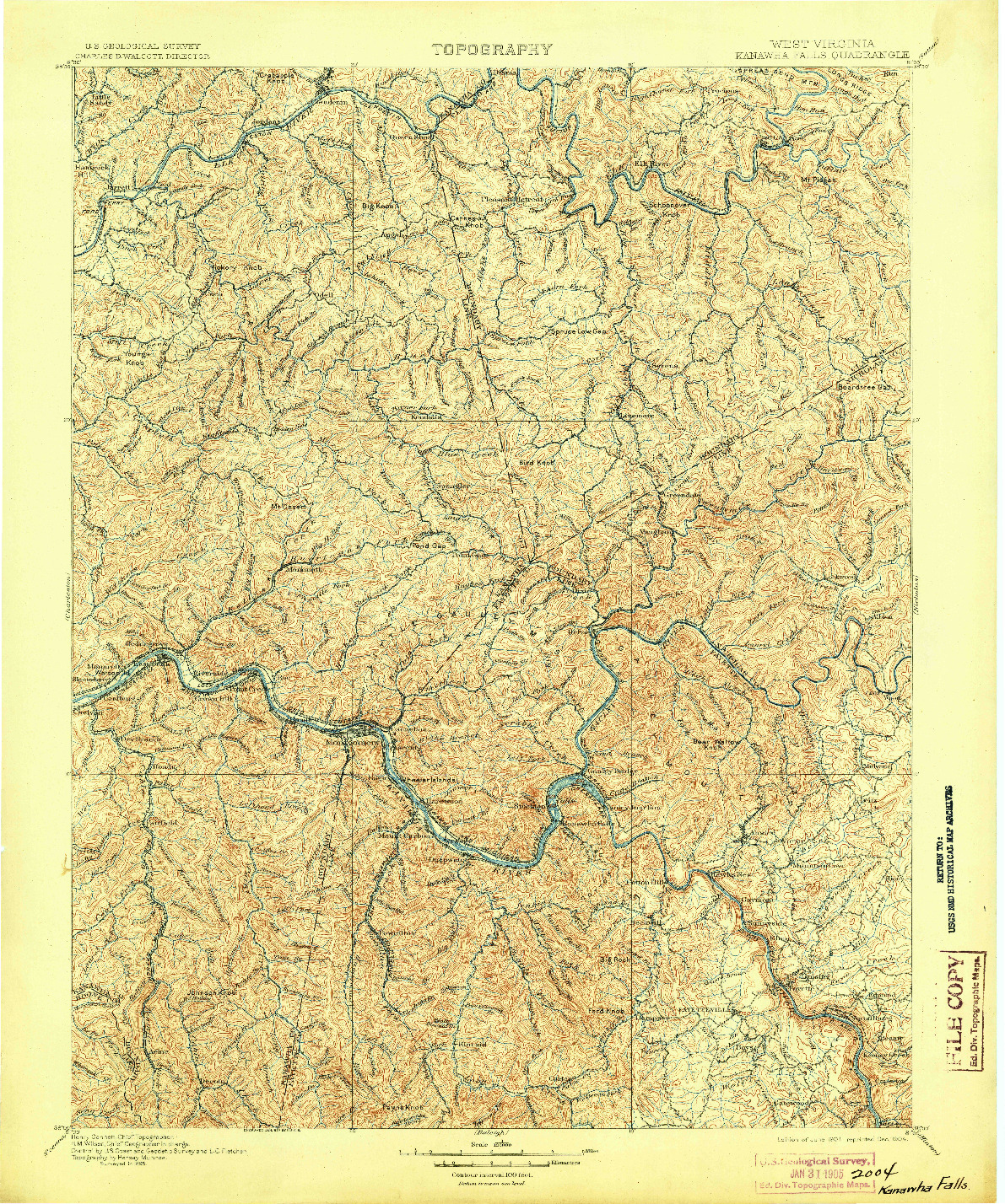 USGS 1:125000-SCALE QUADRANGLE FOR KANAWHA FALLS, WV 1901