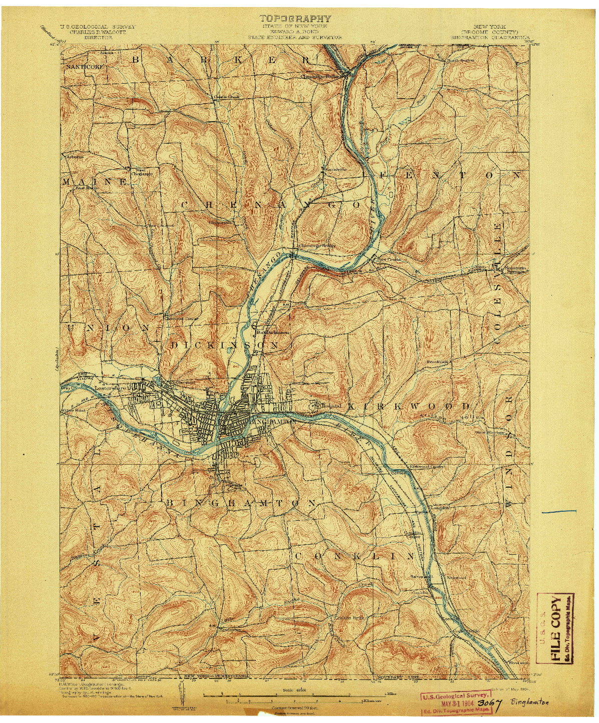 USGS 1:62500-SCALE QUADRANGLE FOR BINGHAMTON, NY 1904