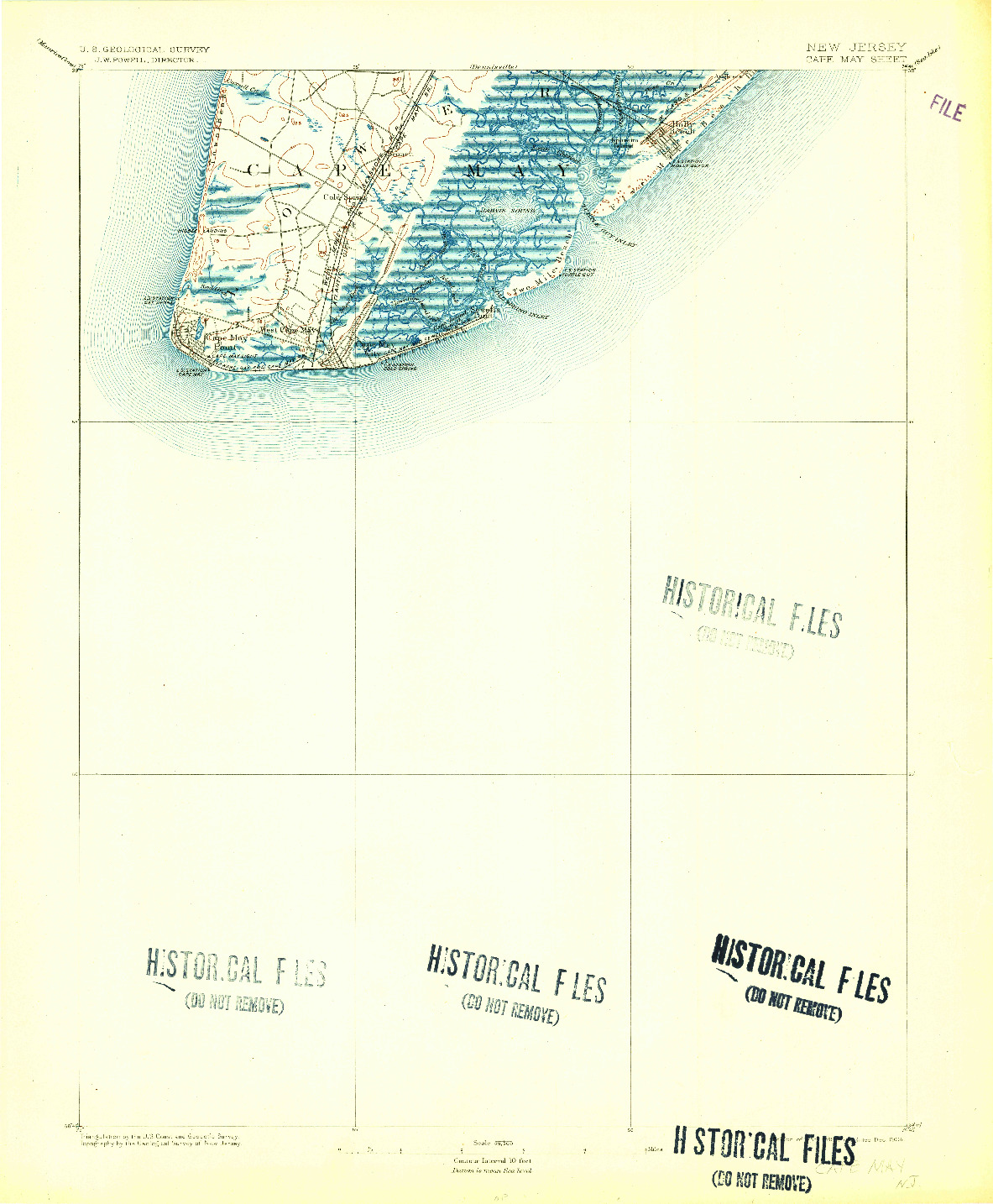 USGS 1:62500-SCALE QUADRANGLE FOR CAPE MAY, NJ 1893