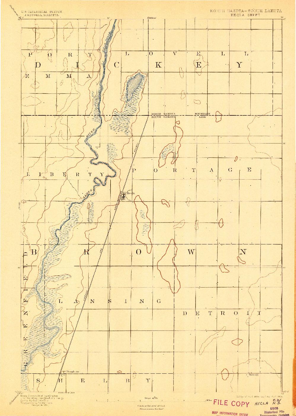 USGS 1:62500-SCALE QUADRANGLE FOR HECLA, ND 1894