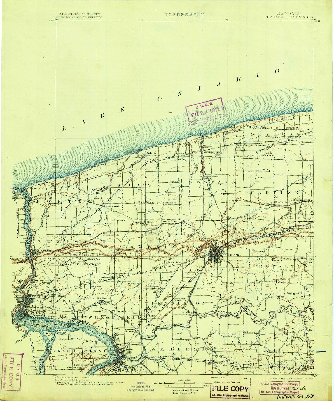 USGS 1:125000-SCALE QUADRANGLE FOR NIAGARA, NY 1899