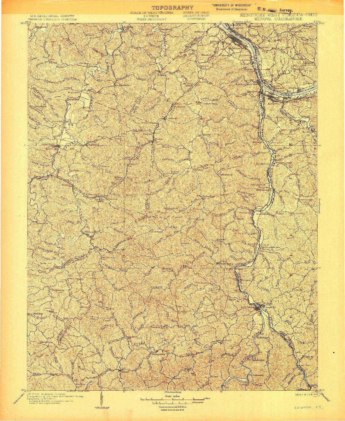USGS 1:125000-SCALE QUADRANGLE FOR KENOVA, KY 1904
