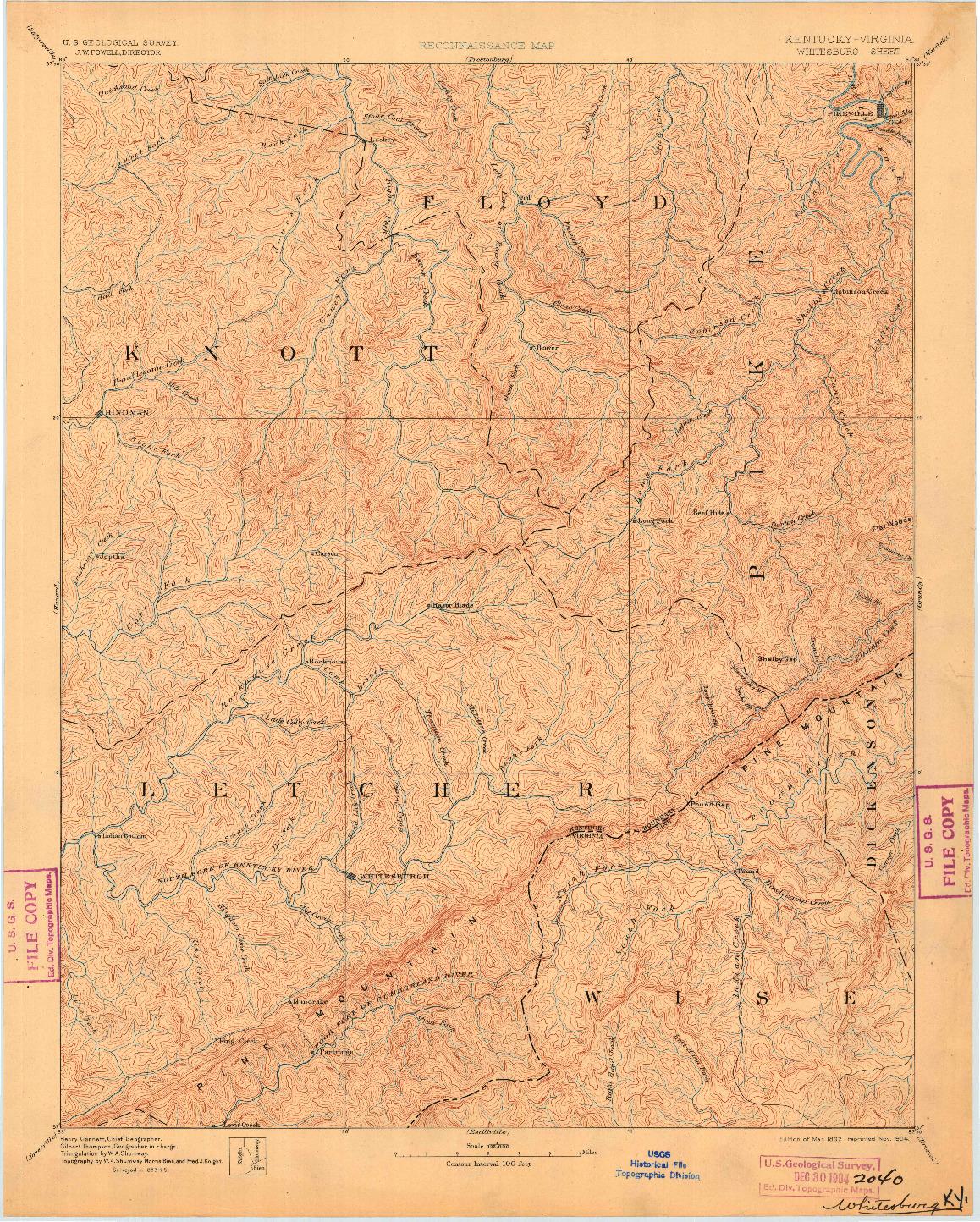 USGS 1:125000-SCALE QUADRANGLE FOR WHITESBURG, KY 1892