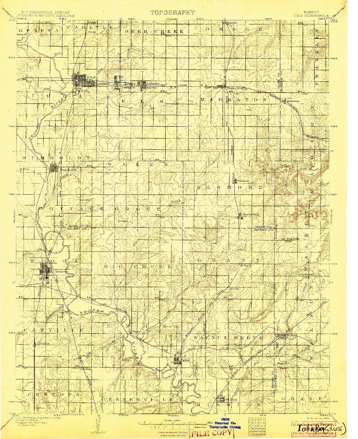 USGS 1:125000-SCALE QUADRANGLE FOR IOLA, KS 1904