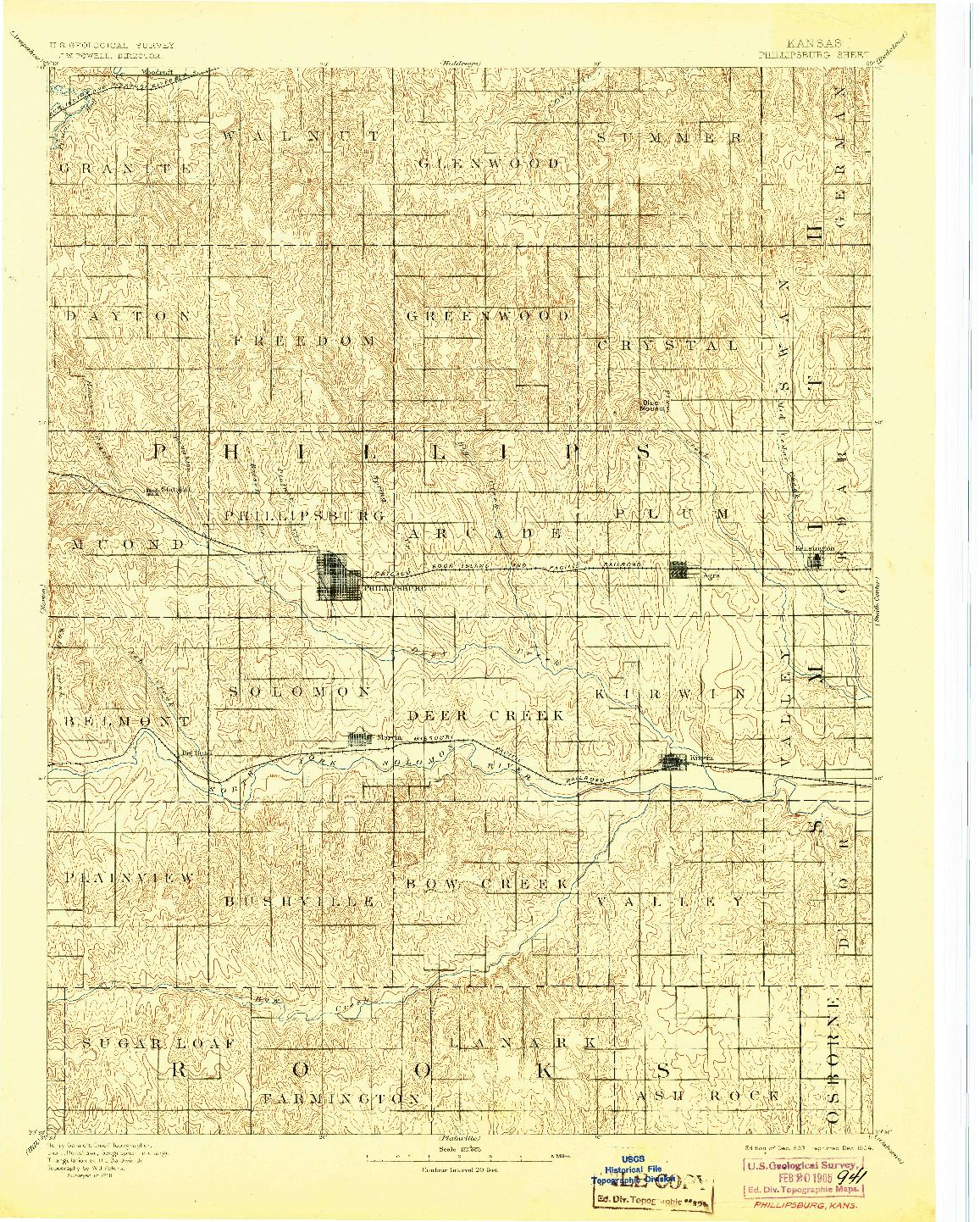 USGS 1:125000-SCALE QUADRANGLE FOR PHILLIPSBURG, KS 1893