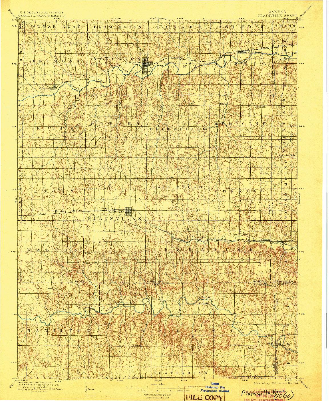 USGS 1:125000-SCALE QUADRANGLE FOR PLAINVILLE, KS 1896