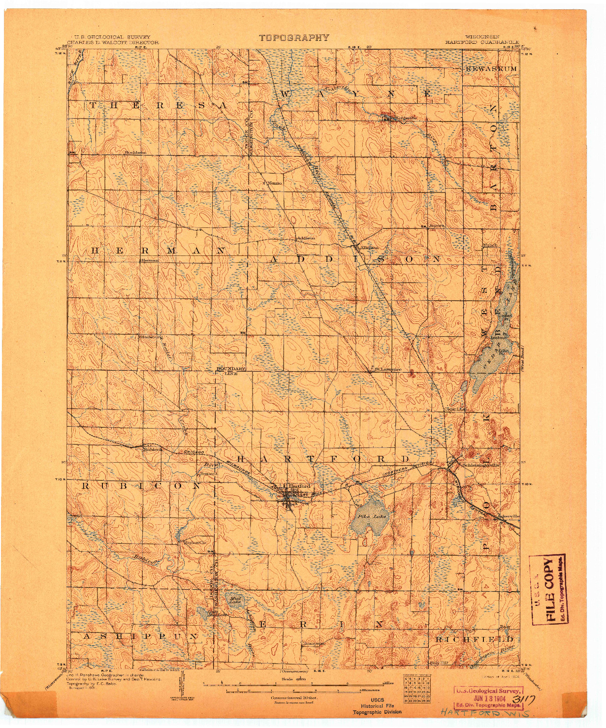 USGS 1:62500-SCALE QUADRANGLE FOR HARTFORD, WI 1904