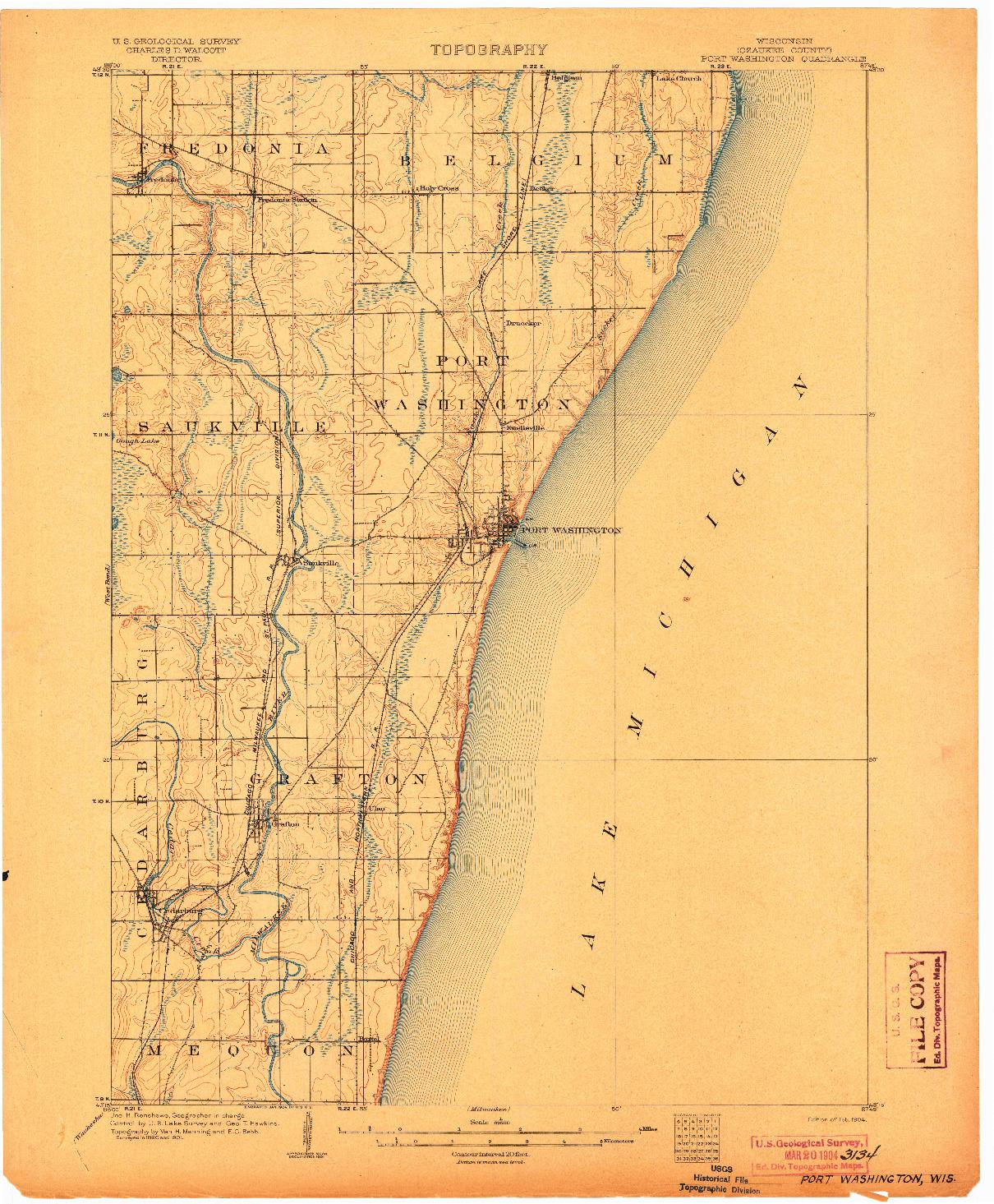 USGS 1:62500-SCALE QUADRANGLE FOR PORT WASHINGTON, WI 1904