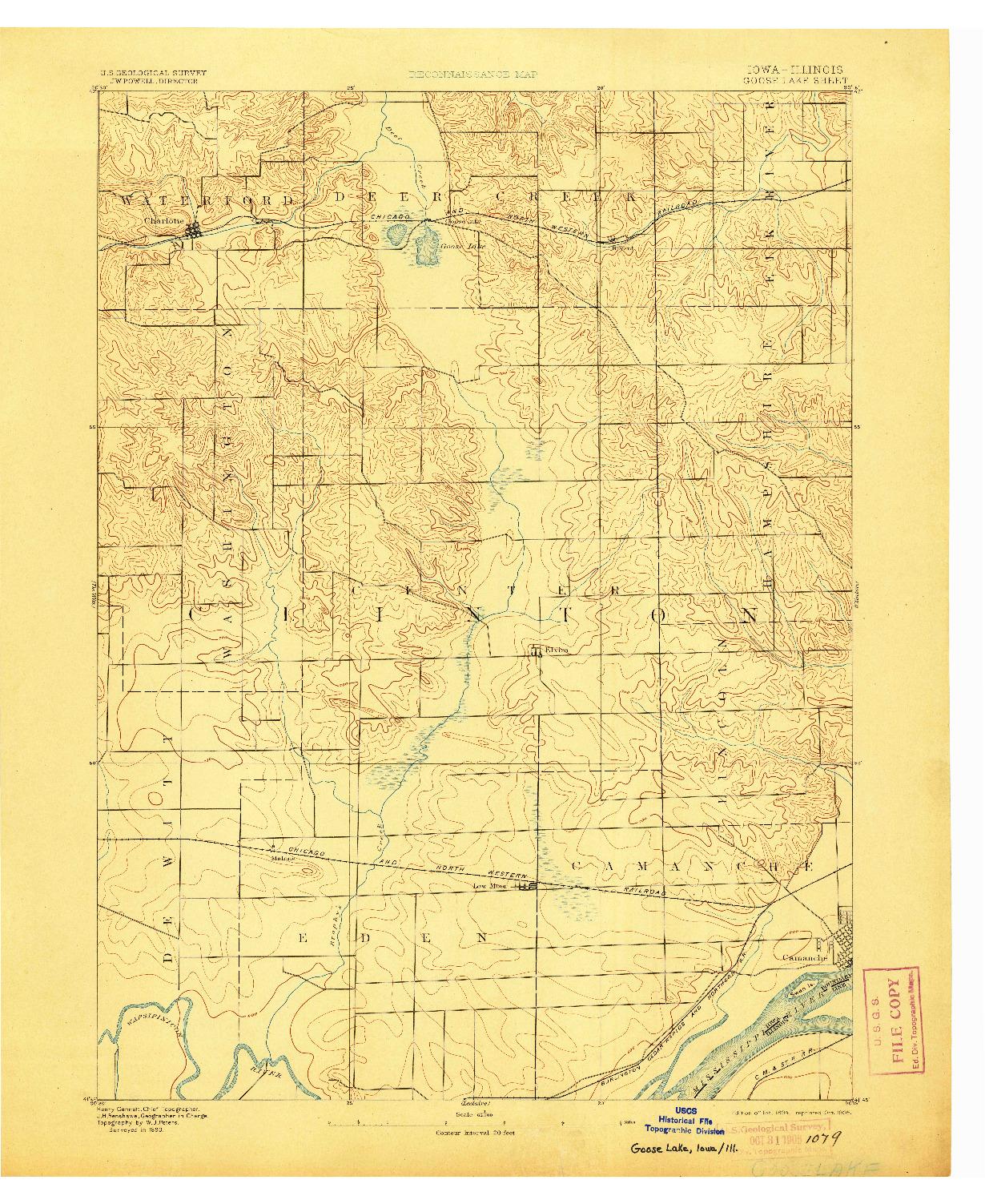 USGS 1:62500-SCALE QUADRANGLE FOR GOOSE LAKE, IA 1894