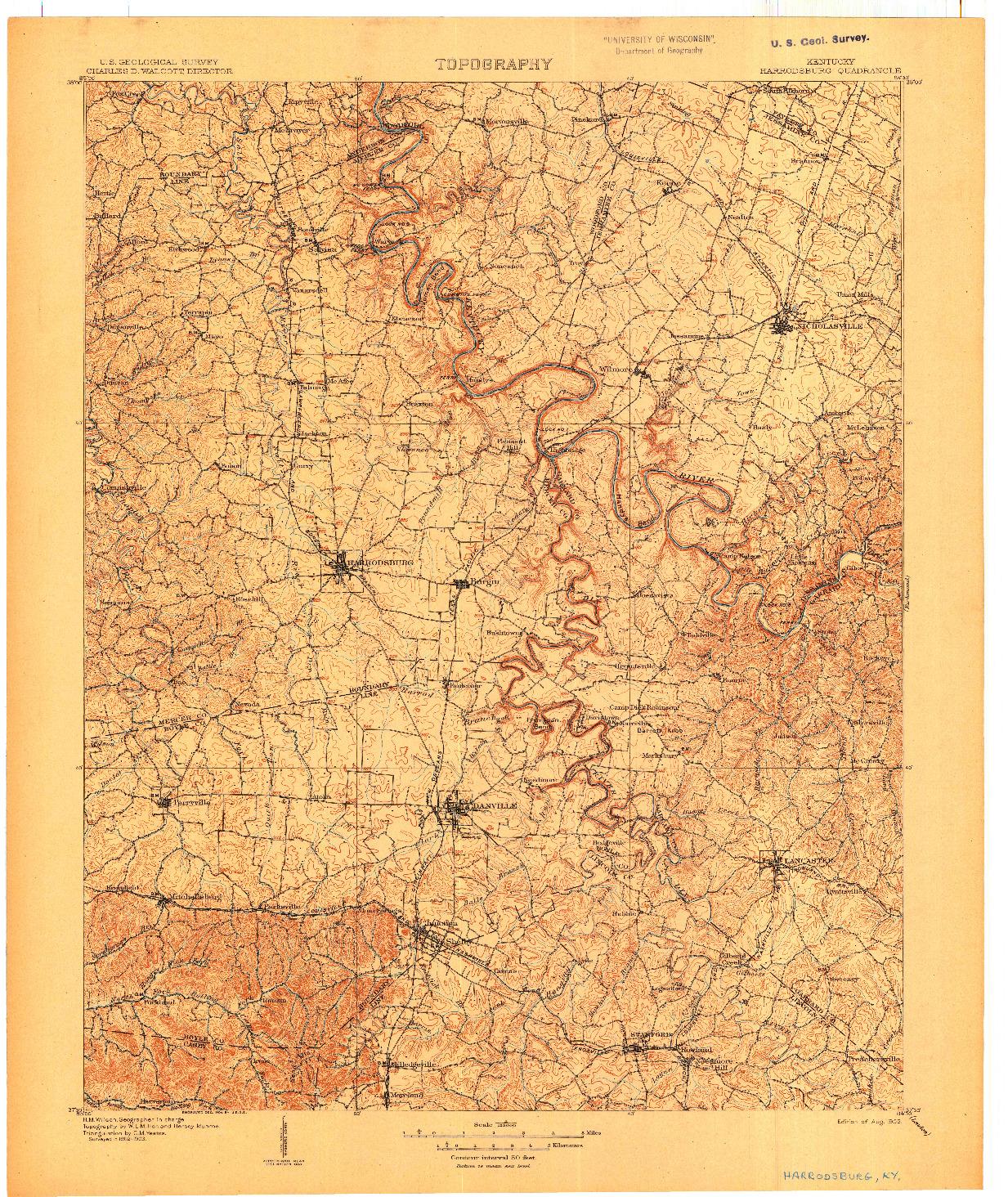 USGS 1:125000-SCALE QUADRANGLE FOR HARRODSBURG, KY 1905