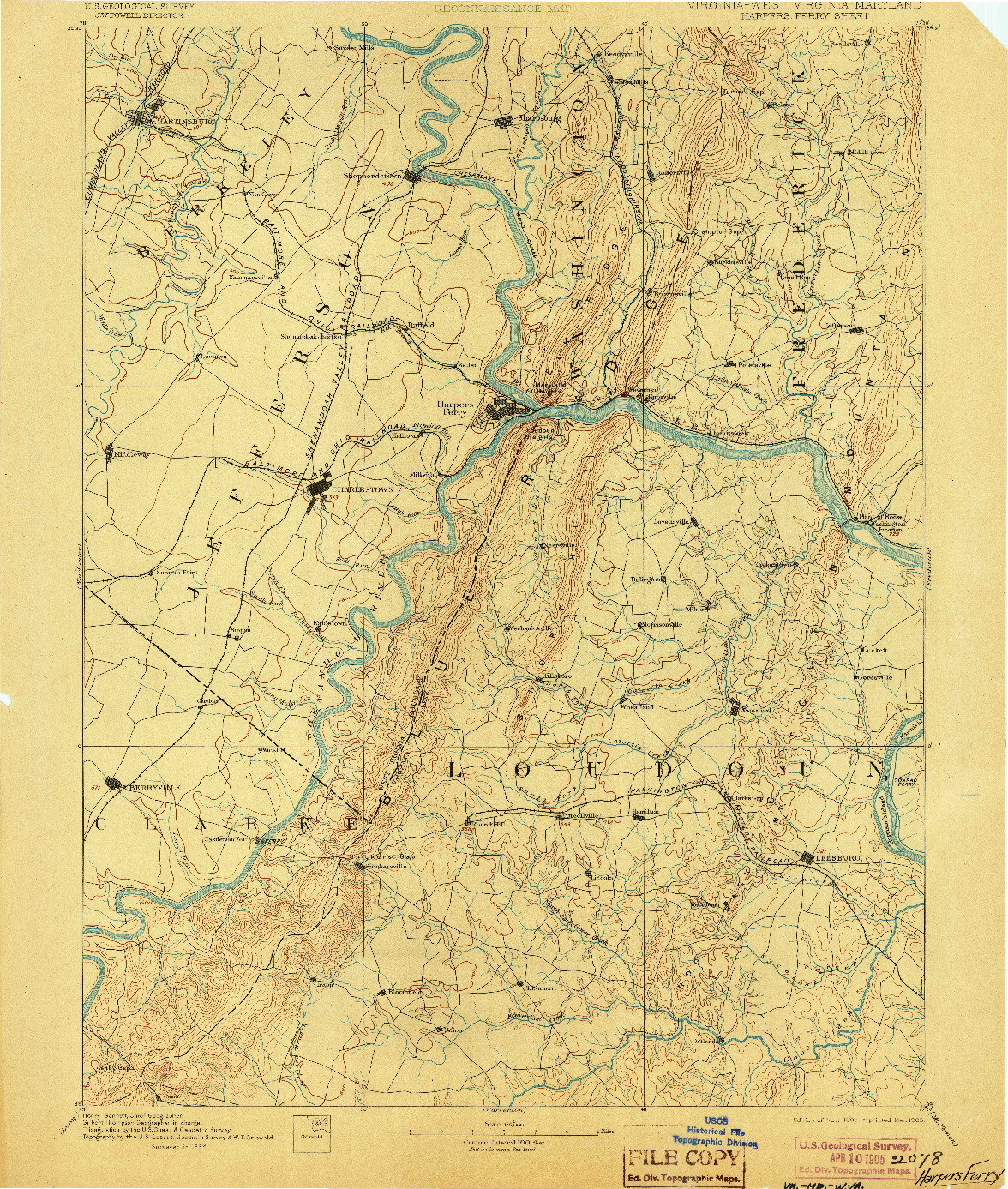USGS 1:125000-SCALE QUADRANGLE FOR HARPERS FERRY, VA 1893
